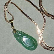 SALE Carved Vintage Jade Pendant with 14K Gold Bail and Chain