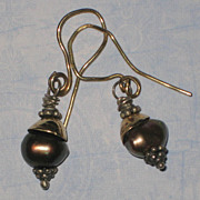 SALE Modernist Chocolate Cultured Pearl Earrings