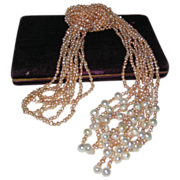 "SALE Pearls and More Pearls - Five 48"" Ropes of Peaches and Cream Cultured Freshwater Pea"