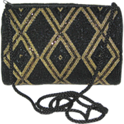 Carla Marchi Black and Gold Beaded Handbag - Mint