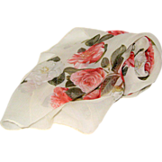 SOLD 1970's Chanel Silk Chiffon Camellia Scarf