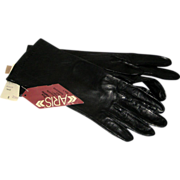 SOLD Black Silk Lined Aris Women's Gloves - Size 7 - Original Tags