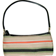 SOLD Small Horizontal Striped Canvas Handbag with Black Leather Trim