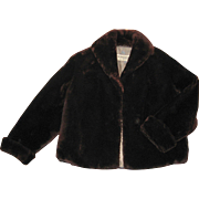 1950's Chocolate Brown Mouton Jacket in Excellent Condition