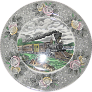 "Adams Currier and Ives ""American Express Train"" Transferware Plate - Wild Rose Borde"