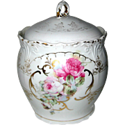 Antique Victorian Porcelain Biscuit Barrel with Roses