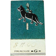 SALE Wells Sterling Silver and Enamel Black Cat Charm on Original Card 1960's