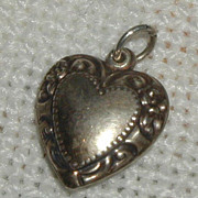 SALE Sterling Repousse Heart Charm - Flowered Border
