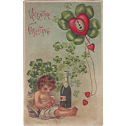 Valentine Postcard - Cherub, Champagne and Four Leaf Clovers