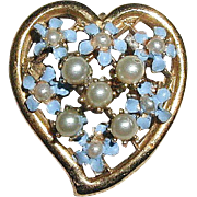 SALE PENDING Enameled Forget-Me-Not Flowers Heart Pin