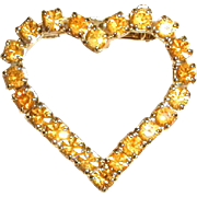 SALE Amber-Colored Rhinestone Heart Pin from the 1960's