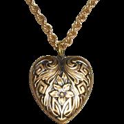 SALE Gold-tone Embossed Heart Pendant