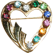 SALE 1950's 12K Gold Filled Heart Pin with Eleven Multicolored Rhinestones