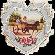 1920's Whitney Paper Valentine - Children in Pony Cart