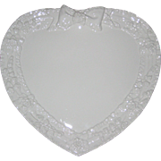 Heart Shaped Ceramic Serving Plate or Platter with Molded Flowers and Bow - Made in Italy
