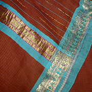 Brown Cotton Sari with Elegant Border in Turquoise Blue, Metallic Gold and Purple