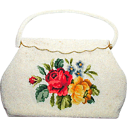 SALE White Beaded Handbag with Needlepoint Tapestry Roses