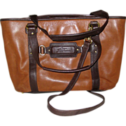 Stone Mountain Leather Tote Bag with Double Handles and Shoulder Strap