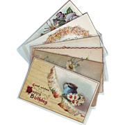 Six Vintage Birthday Greeting Postcards with Daisies - 1914 - 1915