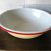 SALE Yellow & White Enamelware Bowl