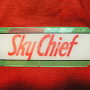 "SALE Gasoline Pump Glass Insert-""Sky Chief"""