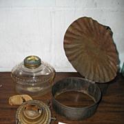 Oil Lamp with Primitive Tin Strap Bracket