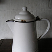 SALE Porcelain Enamelware Coffee Pot