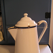 SALE White Enamel Graniteware Coffeepot