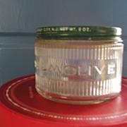 SOLD Glass Advertising Jar-Palmolive Shaving Cream