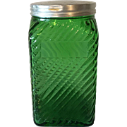 SALE Green Glass Hoosier Jar