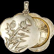 French Art Nouveau Silver Plated Thistle Slide Pendant
