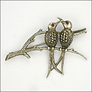 SALE European 800 Silver Marcasite Birds on Branch Pin