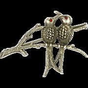 European 800 Silver Marcasite Birds on Branch Pin
