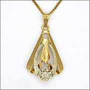 French Art Deco 18K Gold & Diamond Pendant -Gold Filled Chain