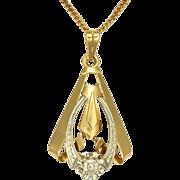 French Art Deco 18K Gold & Diamond Pendant -Gold Filled Chain