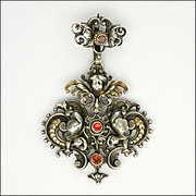 Austro-Hungarian Victorian Silver & Gemstone Angel Pendant
