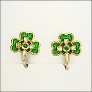 SALE Shamrock Silver Enamel Agate Earrings -Clips and Screws