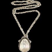 European Arts & Crafts Silver & Baroque Pearl Pendant Necklace