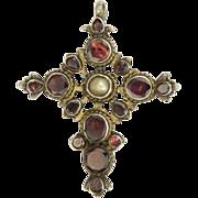 Victorian European Silver Garnet Pearl Cross Pendant