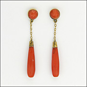 Victorian 9 Carat Gold and Coral Drop Pierced Earrings