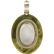 Victorian Connemara Marble and Silver Locket