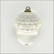 SOLD Faceted Crystal Glass Acorn Pendant