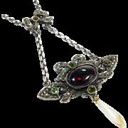 French Art Nouveau Silver Garnet Tourmaline Necklace