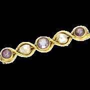 Arts& Crafts 14K Gold Amethyst & Pearl Pin