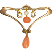 Art Nouveau 9K Gold and Coral Drop Pin