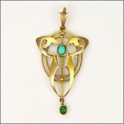 English Art Nouveau 9K Gold & Turquoise Pendant