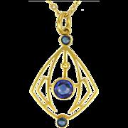 English Art Nouveau 9K Gold & Paste Pendant Necklace