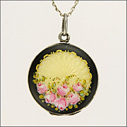German or Austrian 935 Silver Enamel Double Sided Roses Locket & Chain