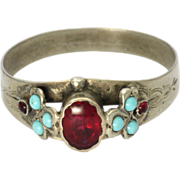 Victorian Ruby Paste Turquoise & Rubies Silver Ring