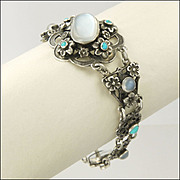 SALE English Arts and Crafts ZW and Co Silver Moonstone and Turquoise Bracelet